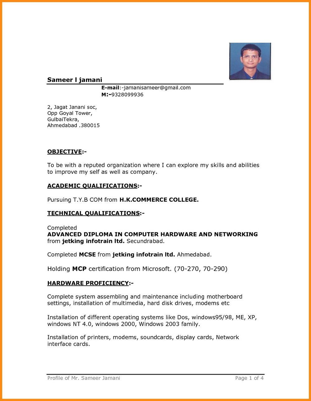004 Remarkable Simple Resume Template Download In M Word Sample Full