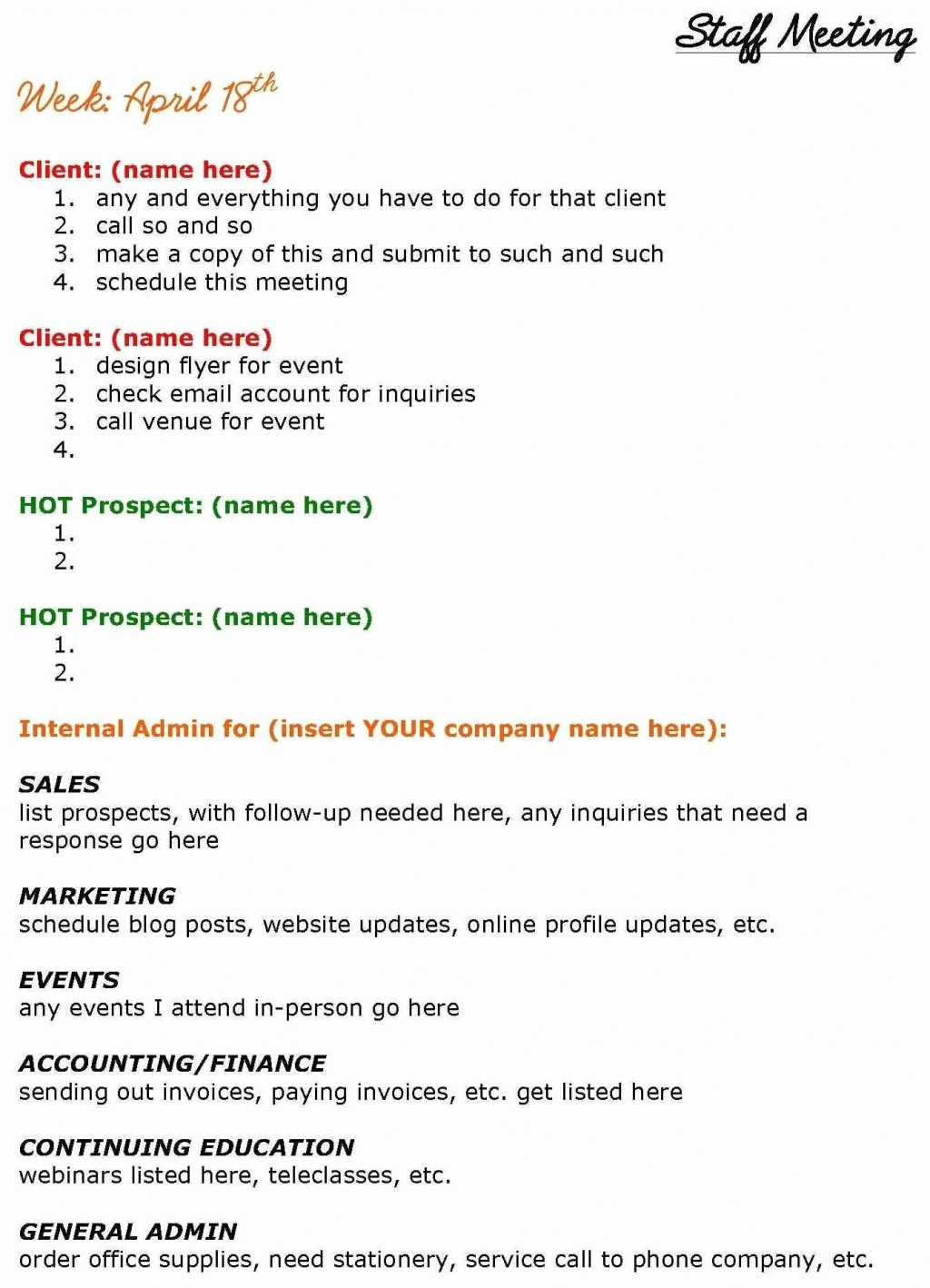 004 Remarkable Staff Meeting Agenda Template Inspiration  Example FormatLarge