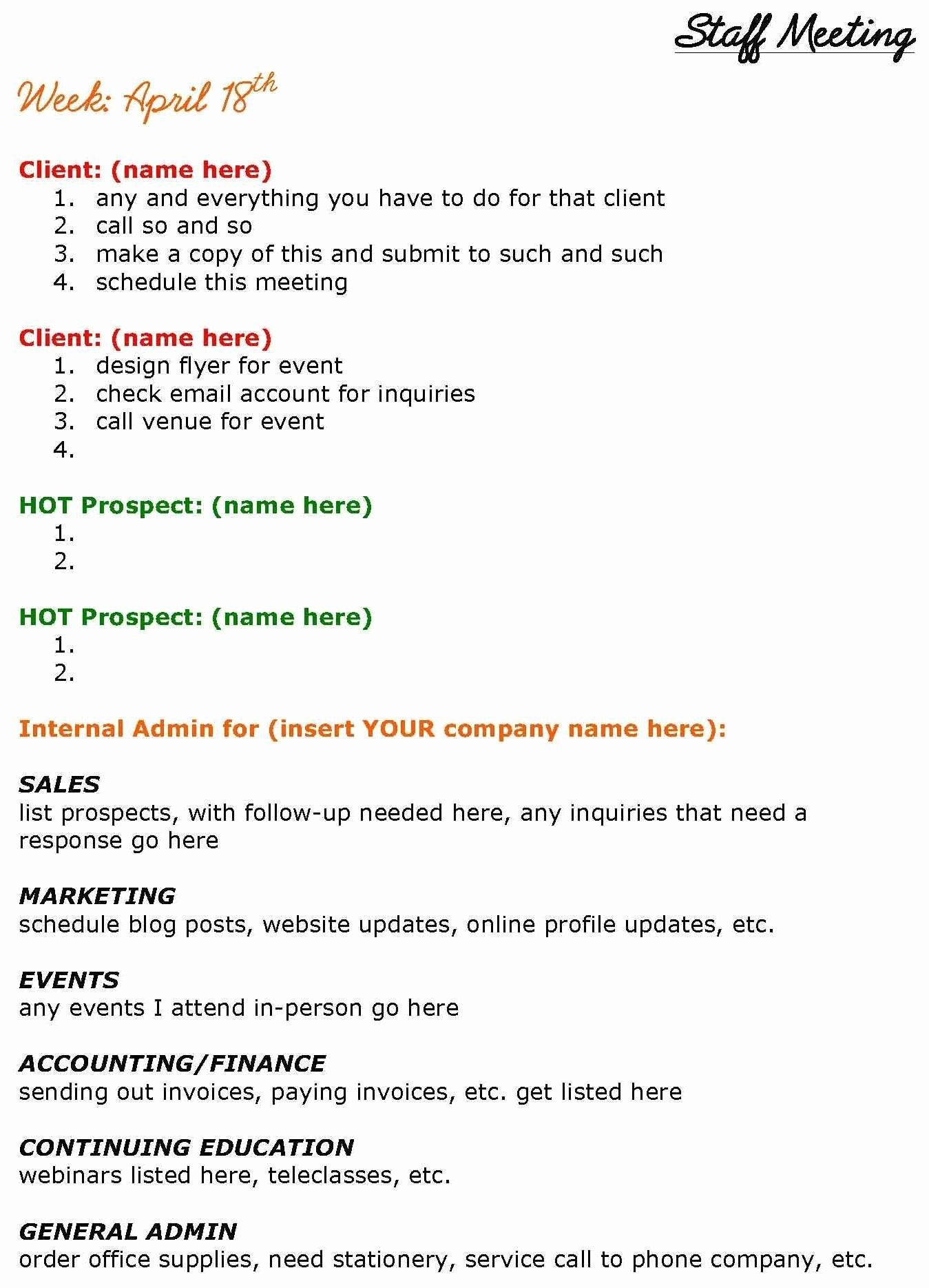 004 Remarkable Staff Meeting Agenda Template Inspiration  Example FormatFull