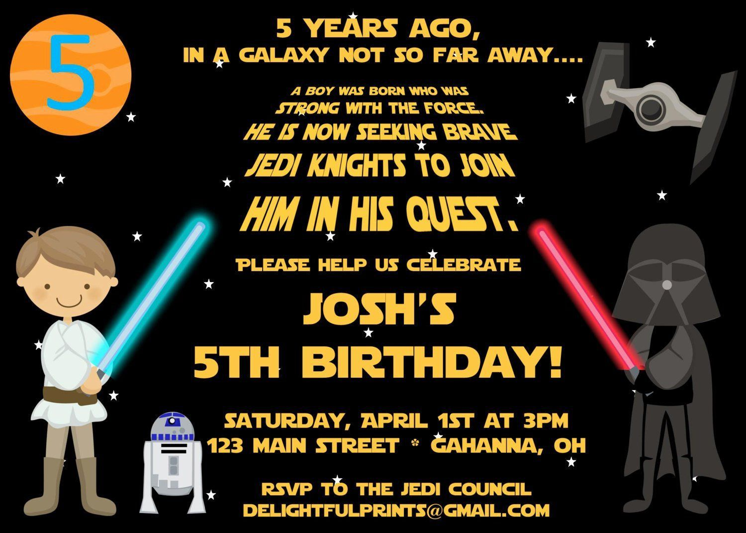 004 Remarkable Star War Birthday Invitation Template Concept  Free Party PrintableFull