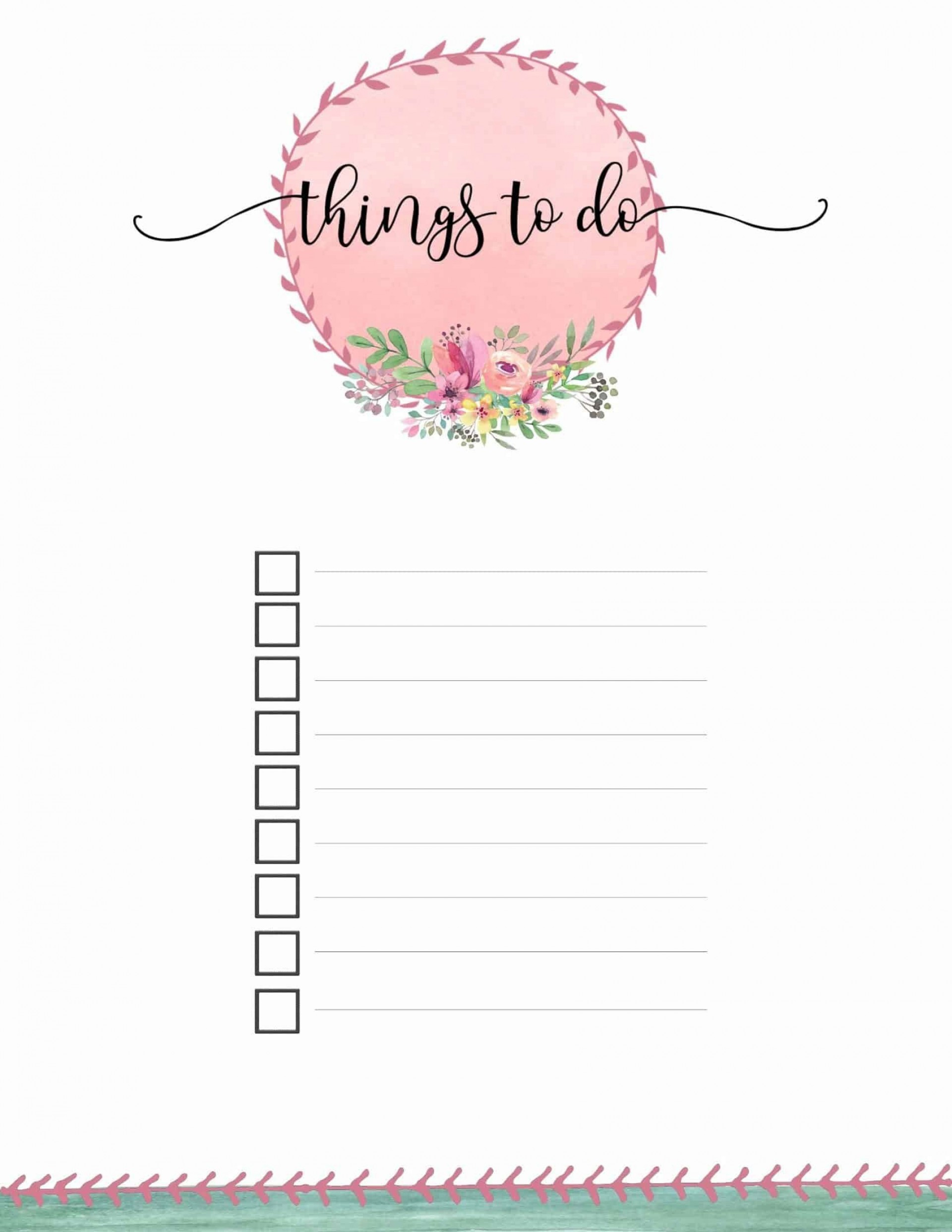 004 Remarkable Thing To Do List Template Example 1920