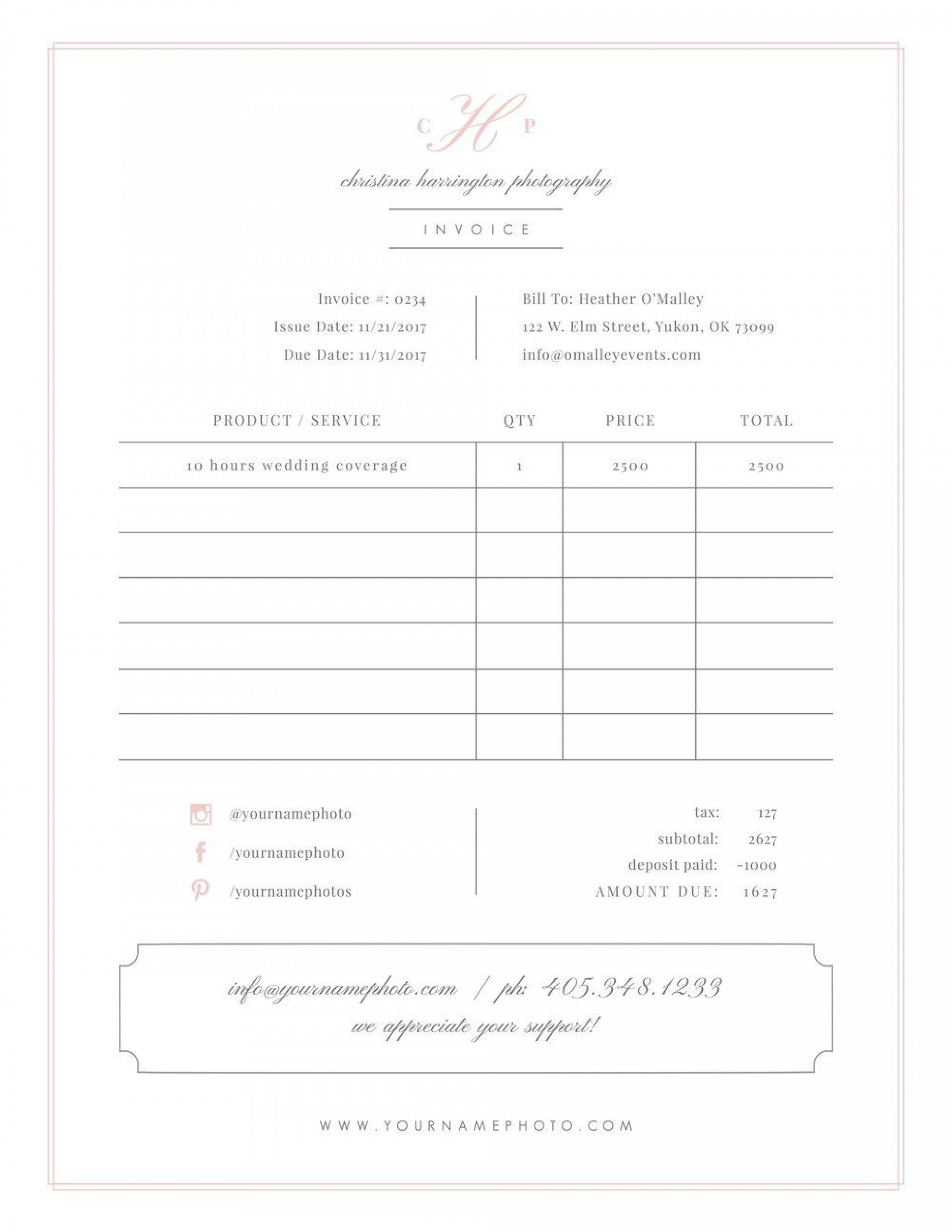 004 Remarkable Wedding Photographer Contract Template Free Sample  Simple Photography Word1920