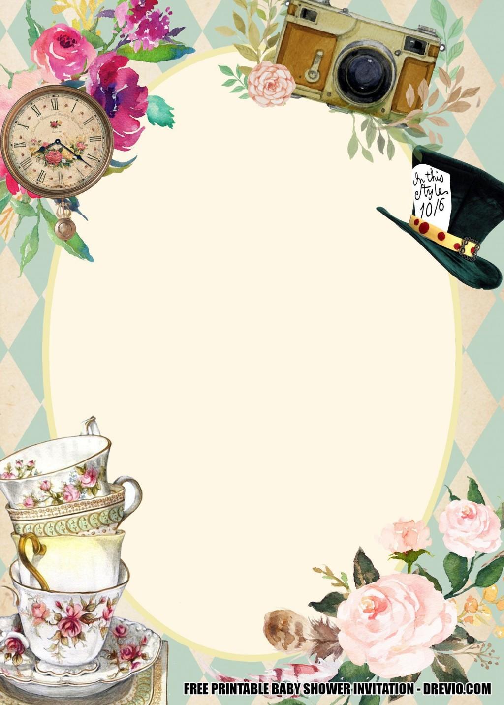 004 Sensational Alice In Wonderland Invite Template Design  Party Invitation FreeLarge