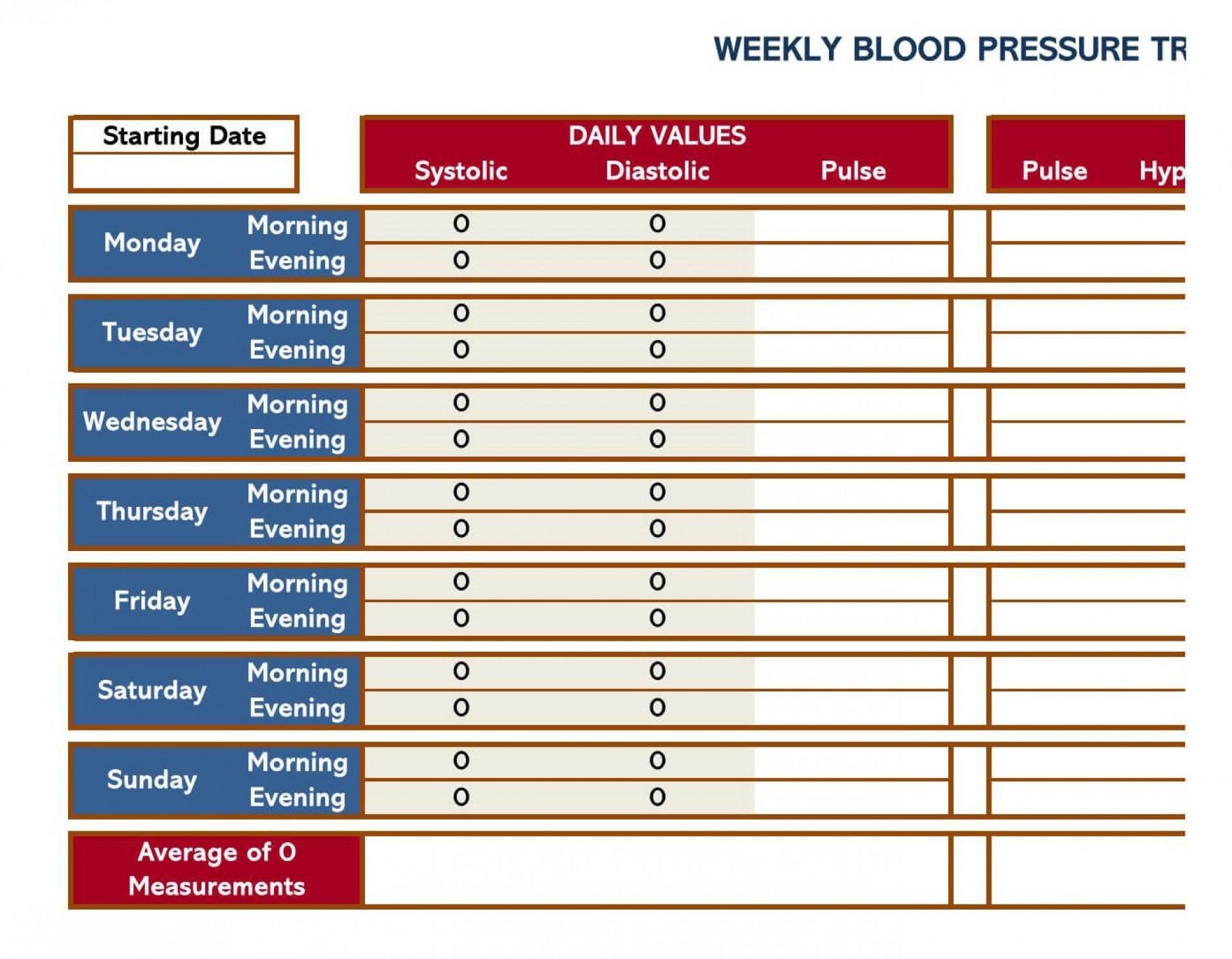 004 Sensational Blood Pressure Log Template High Definition  Printable Free Sheet Chart1920