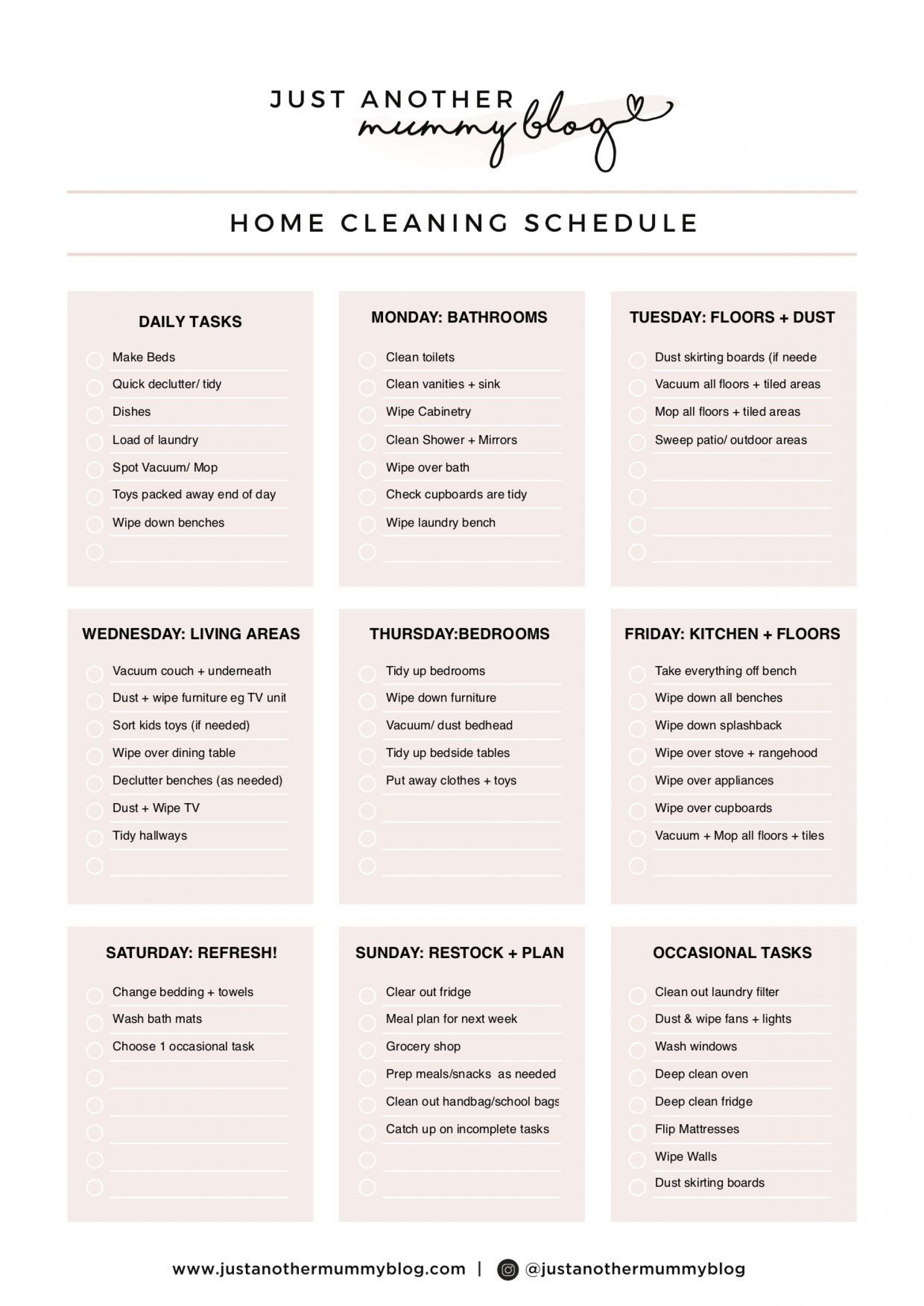 004 Sensational Care Home Cleaning Schedule Template Design  Kitchen1920