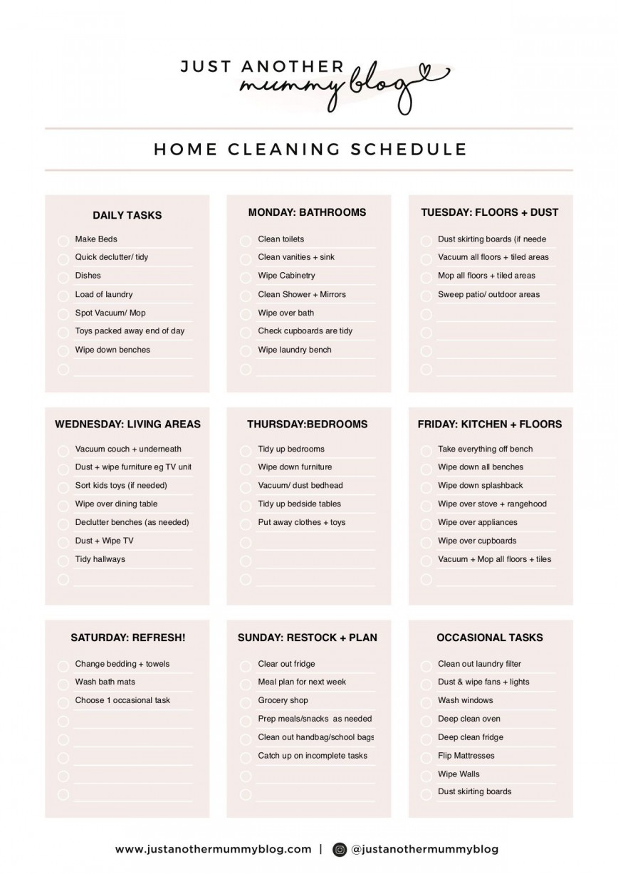 004 Sensational Care Home Cleaning Schedule Template Design  Kitchen