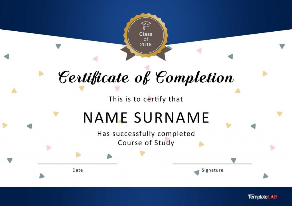 004 Sensational Certificate Of Completion Template Free High Resolution  Training Download WordLarge