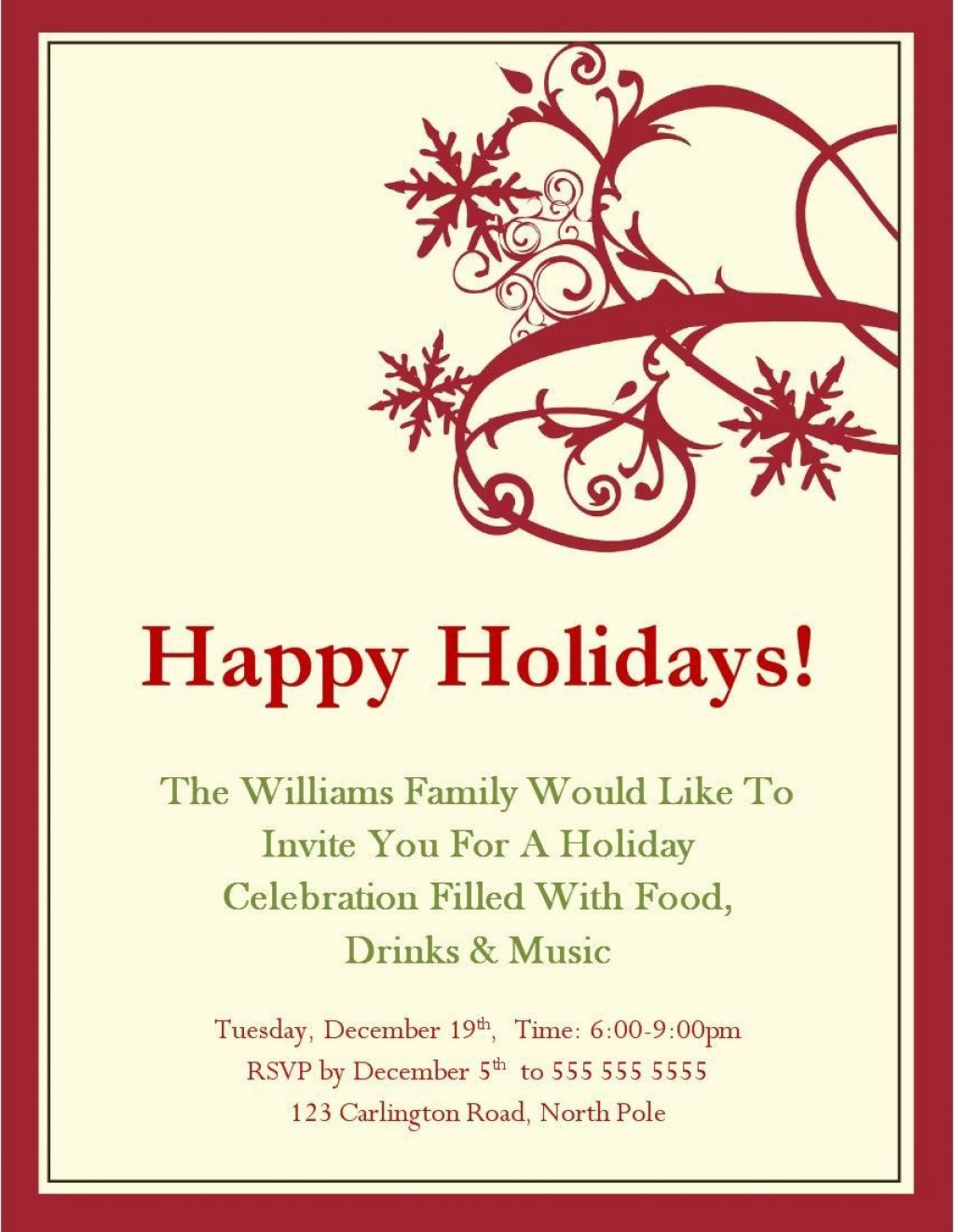 004 Sensational Free Holiday Party Invitation Template For Word Inspiration Large