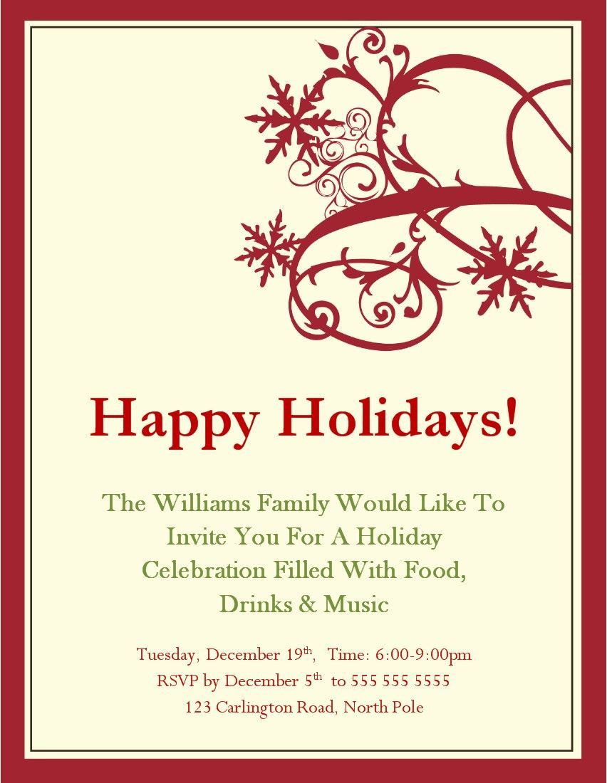 004 Sensational Free Holiday Party Invitation Template For Word Inspiration Full