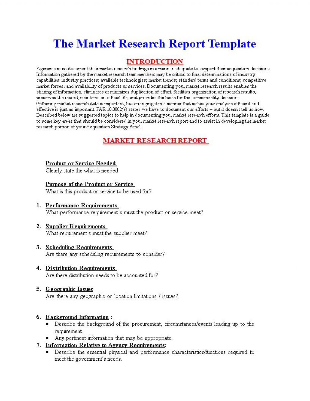 004 Sensational Market Research Report Template Inspiration  Excel Sample FreeLarge