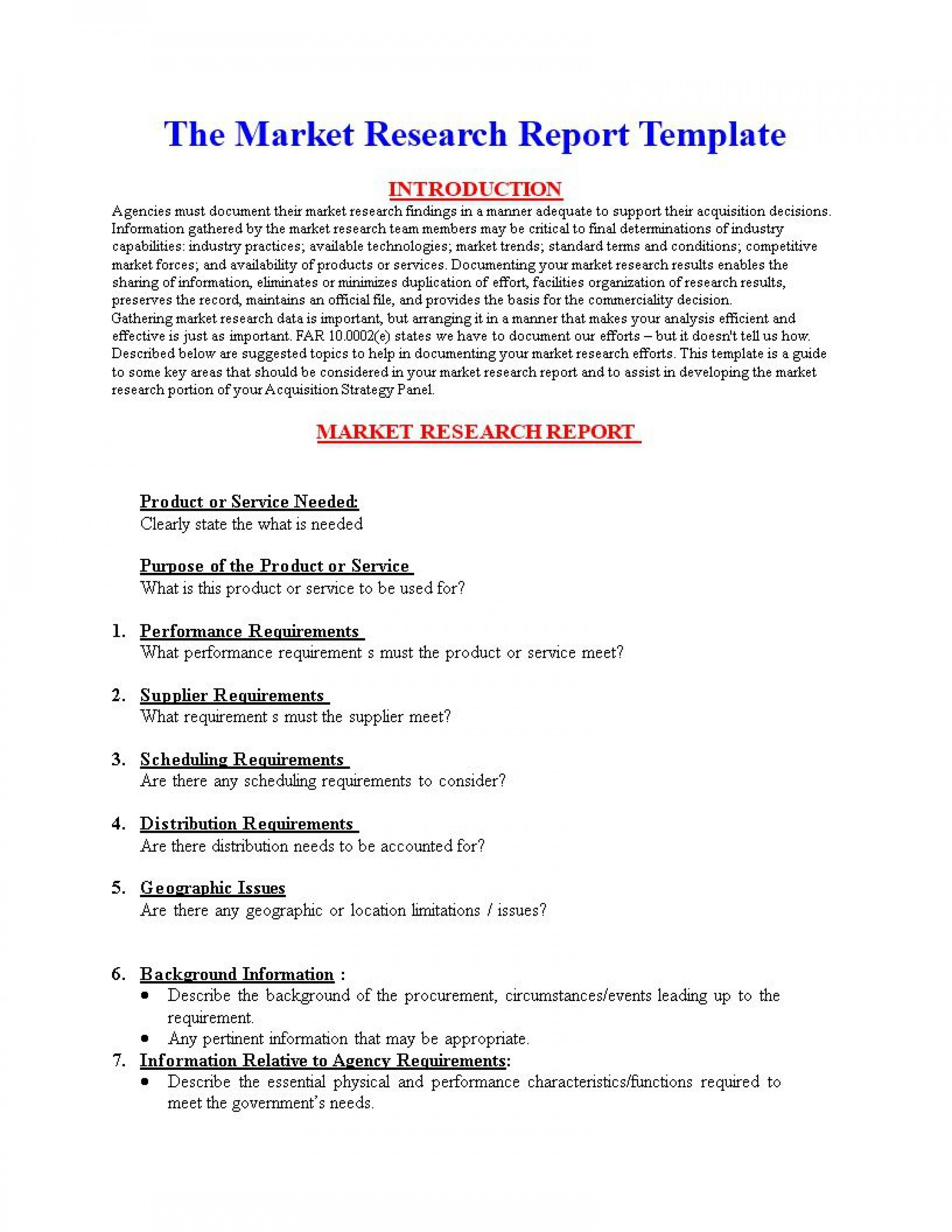 004 Sensational Market Research Report Template Inspiration  Excel Sample Free1920