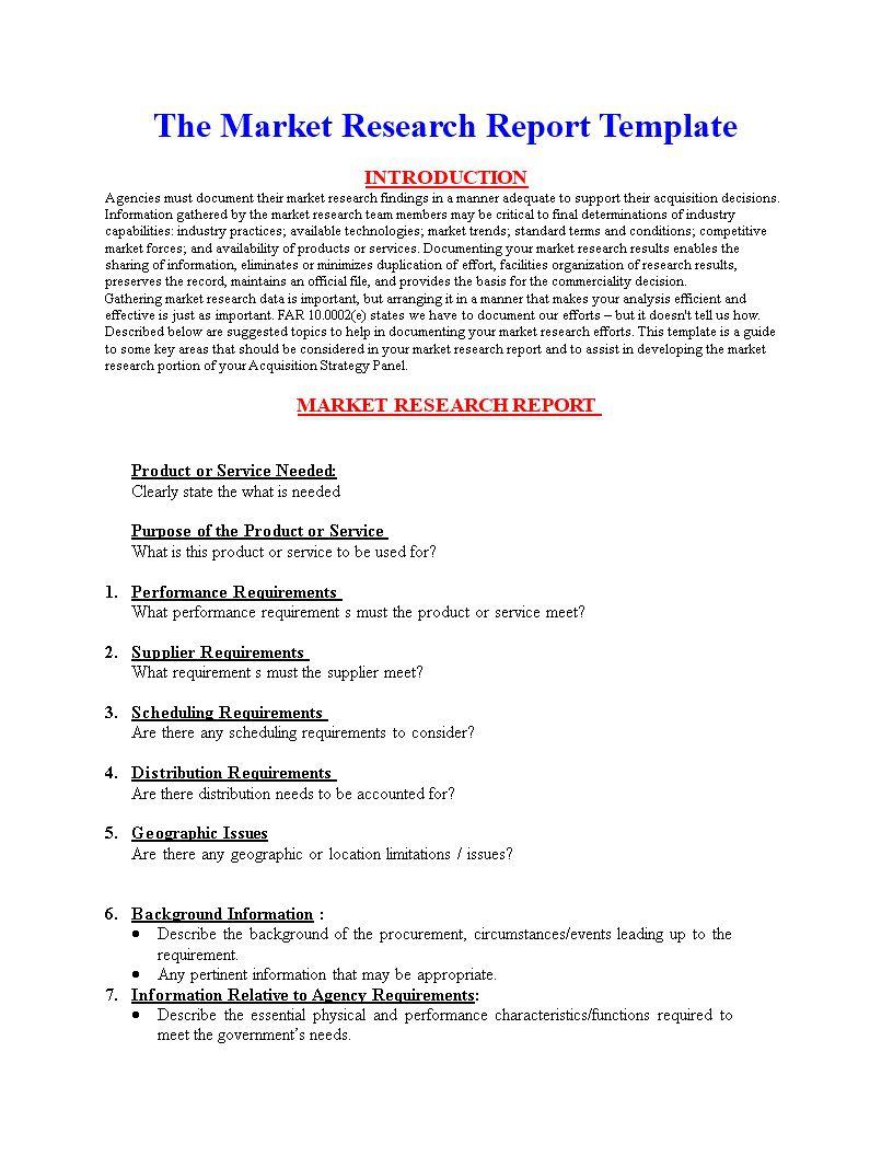 004 Sensational Market Research Report Template Inspiration  Excel Sample FreeFull