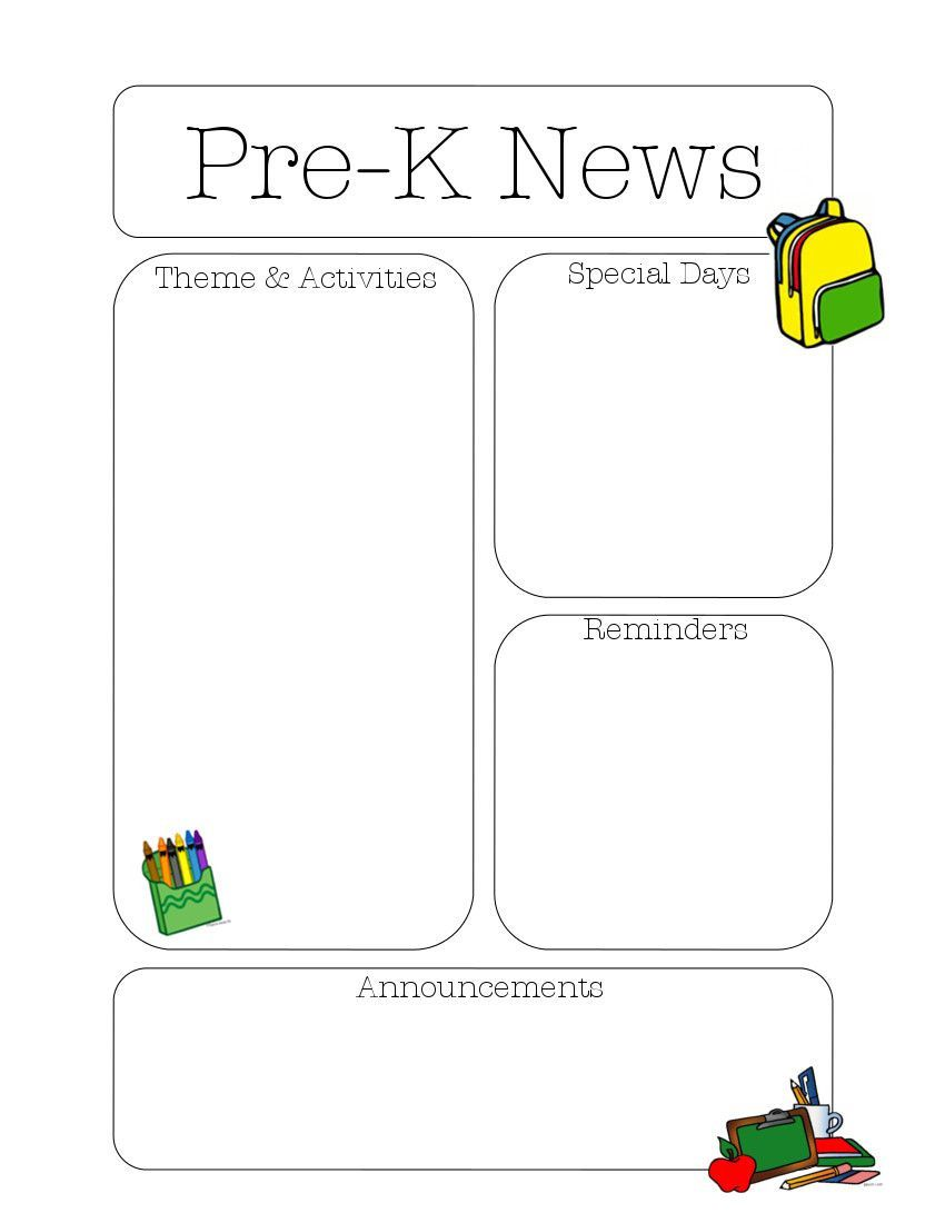 004 Sensational Pre K Newsletter Template Picture  Templates Free Printable ClassroomFull