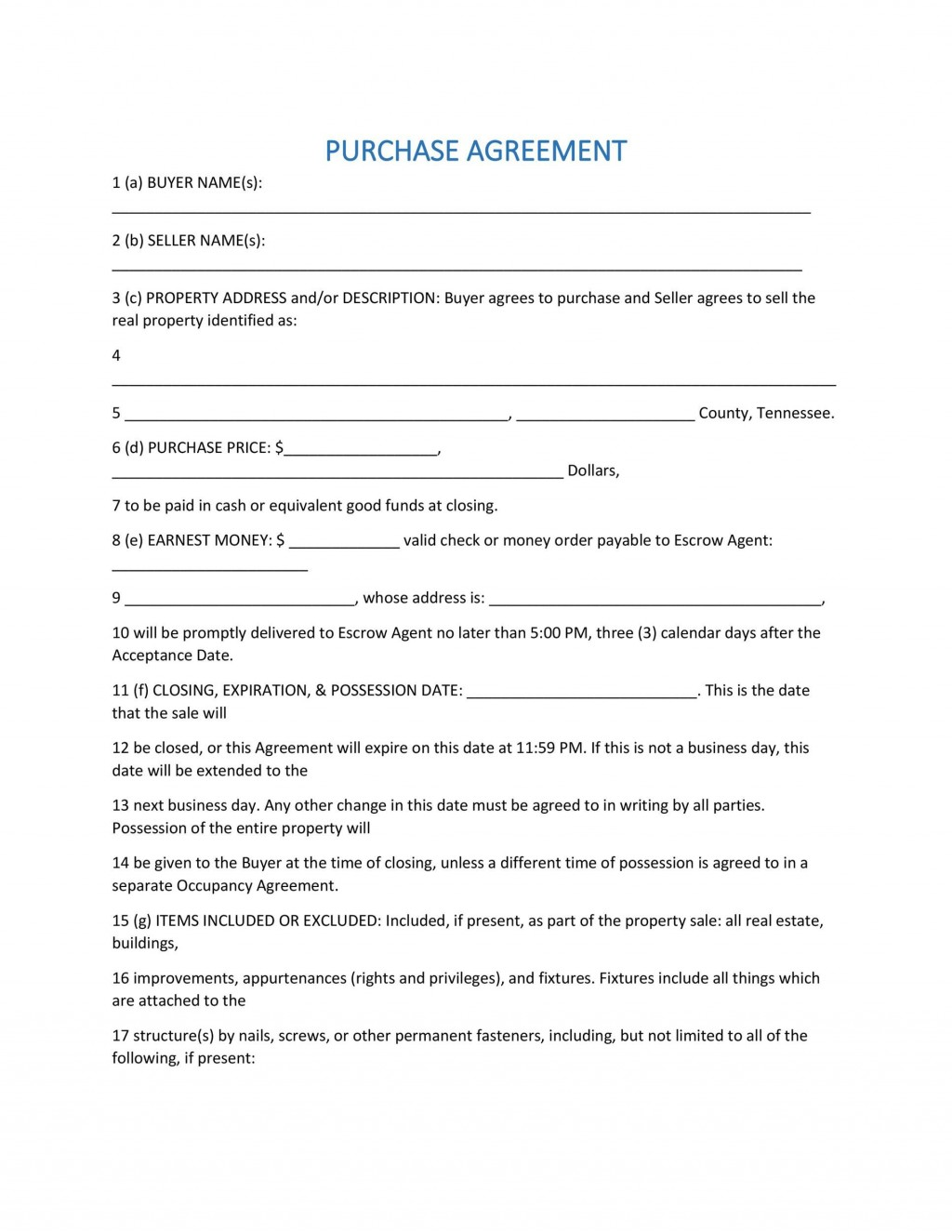 004 Sensational Purchase Agreement Template For Home Photo  MobileLarge