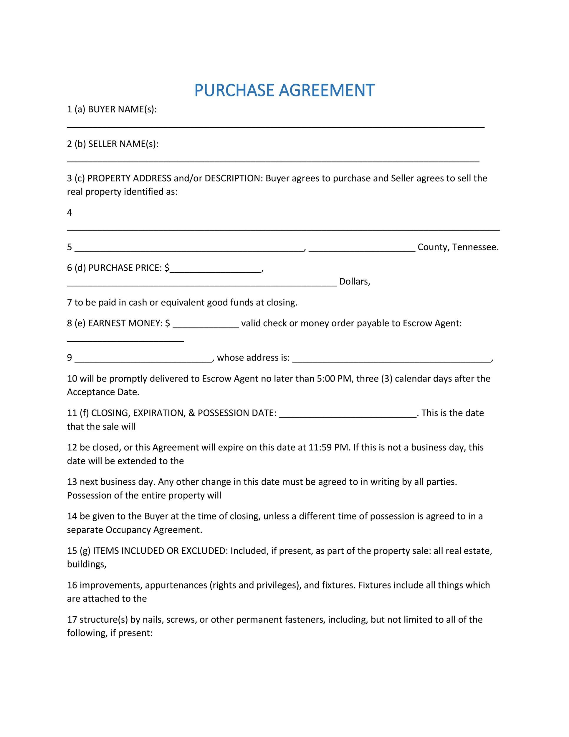 004 Sensational Purchase Agreement Template For Home Photo  MobileFull