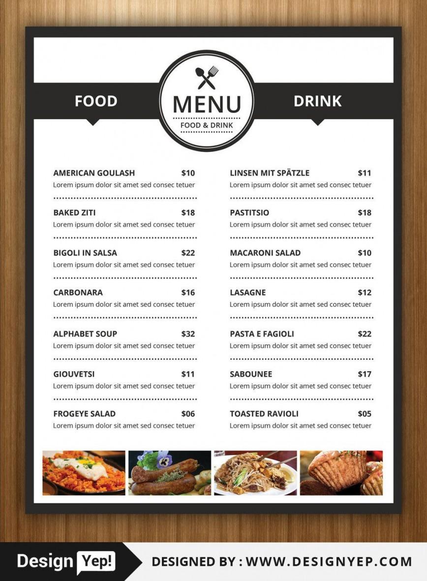 004 Sensational Restaurant Menu Template Free Picture  Blank Word Google Doc Indesign Download
