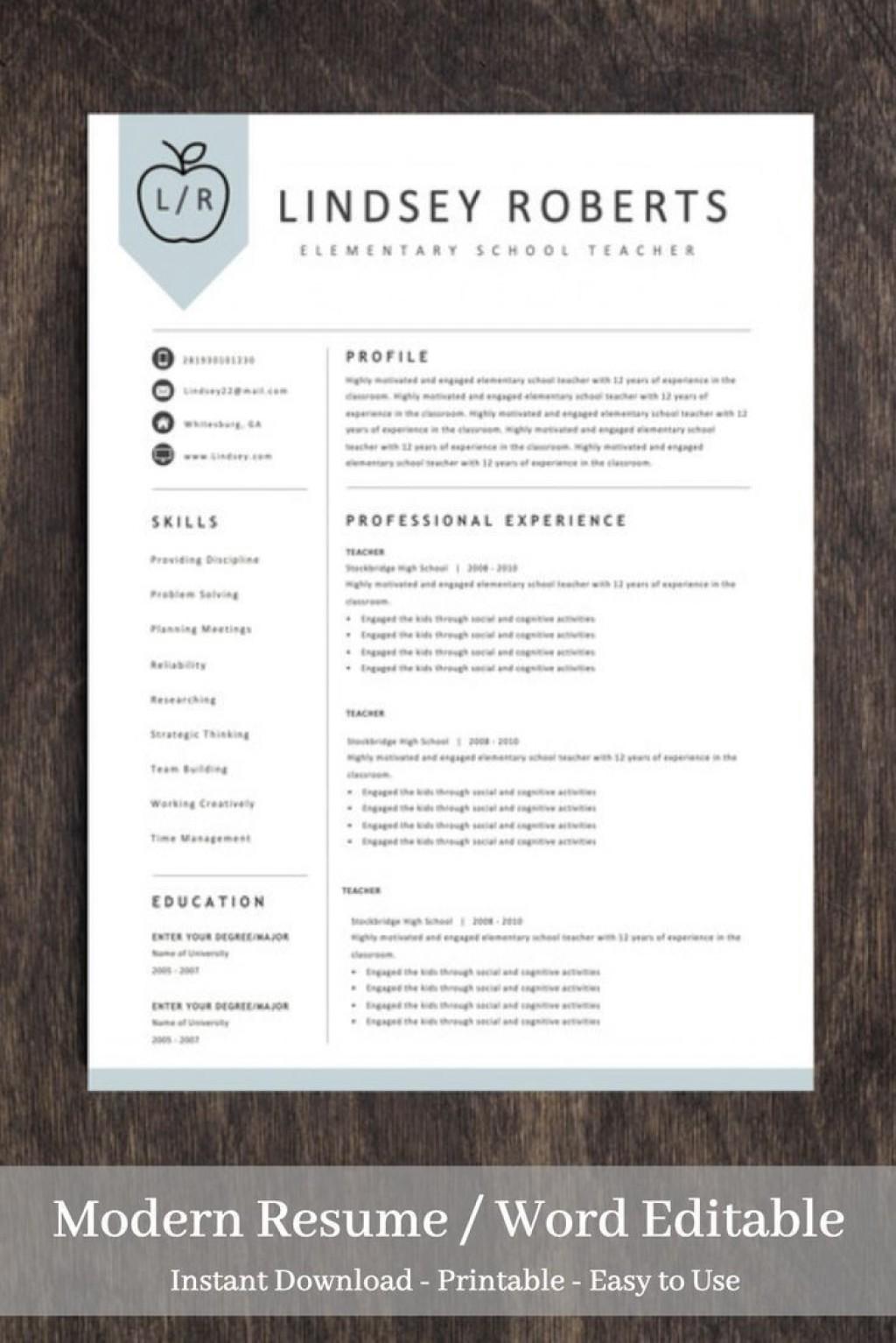 004 Sensational Teacher Resume Sample Free Download Idea  CvLarge