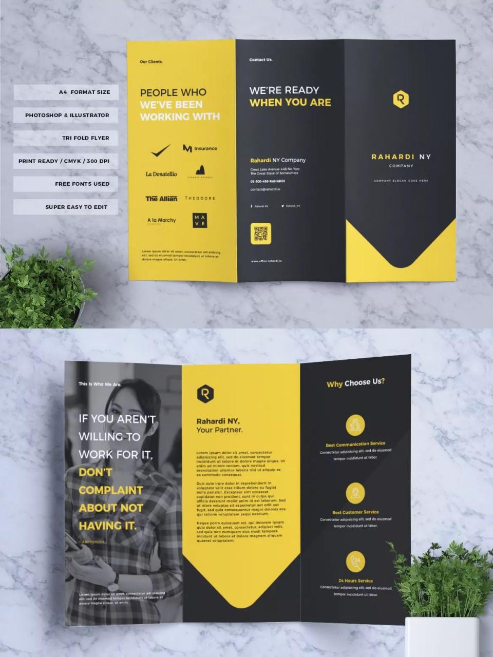 004 Sensational Three Fold Brochure Template Psd High Resolution  Free 3 A4 Tri Download960