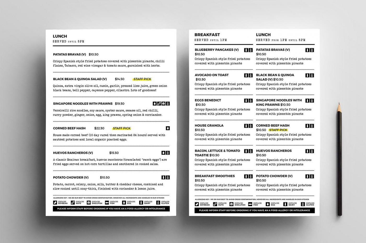 004 Sensational To Go Menu Template Concept  Tri Fold Word1400
