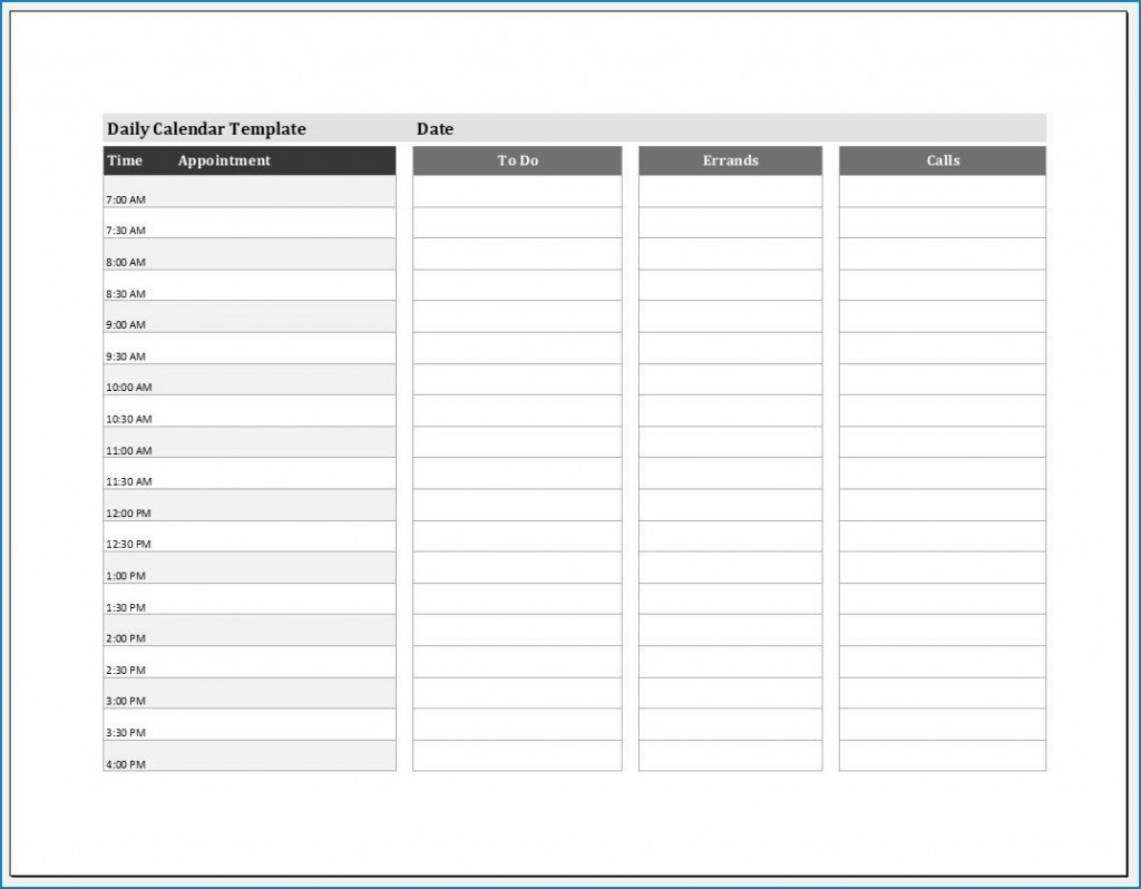 004 Shocking Daily Calendar Template Excel High Def Large