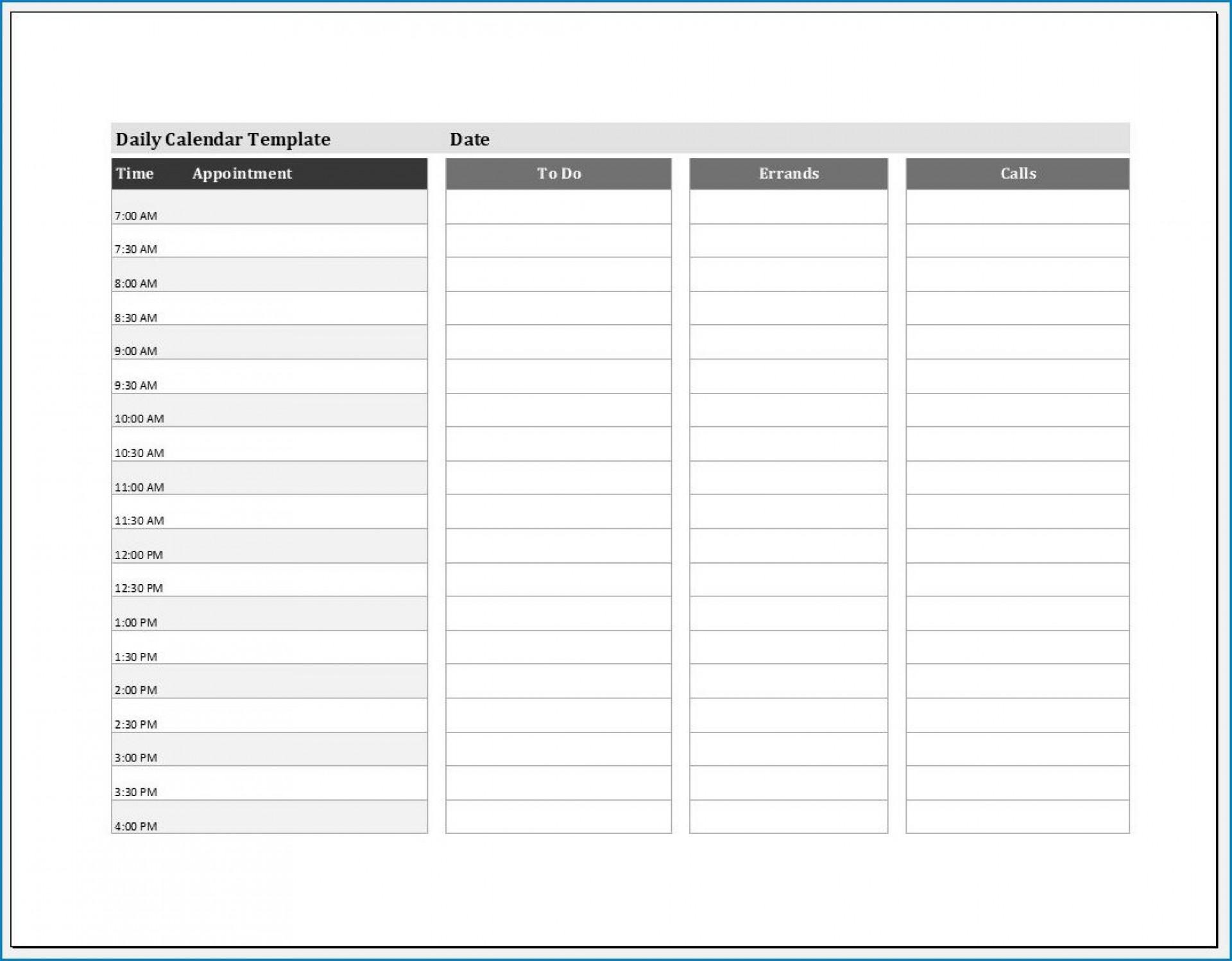 004 Shocking Daily Calendar Template Excel High Def 1920
