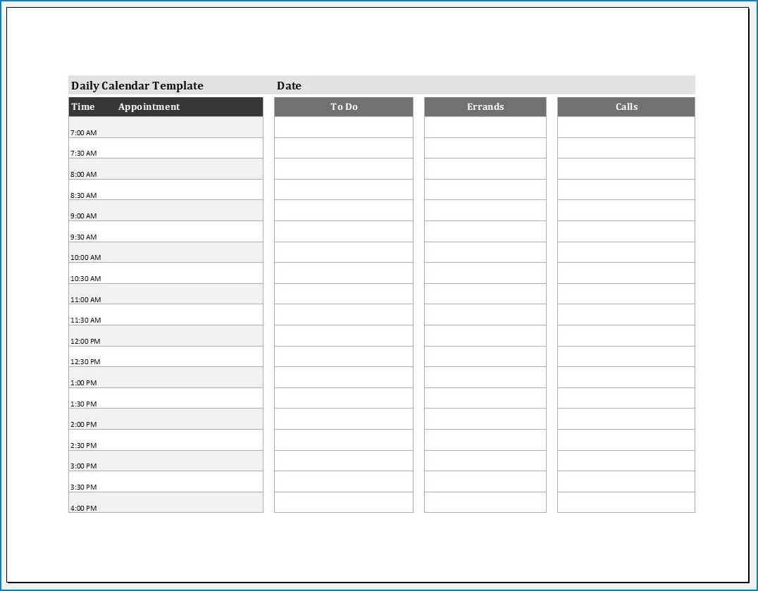 004 Shocking Daily Calendar Template Excel High Def Full