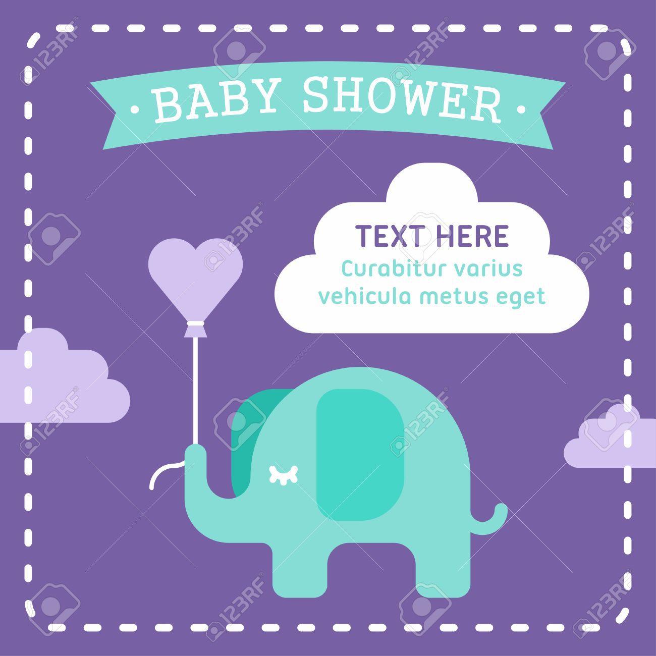 004 Shocking Elephant Girl Baby Shower Invitation Template High Resolution  Templates PinkFull