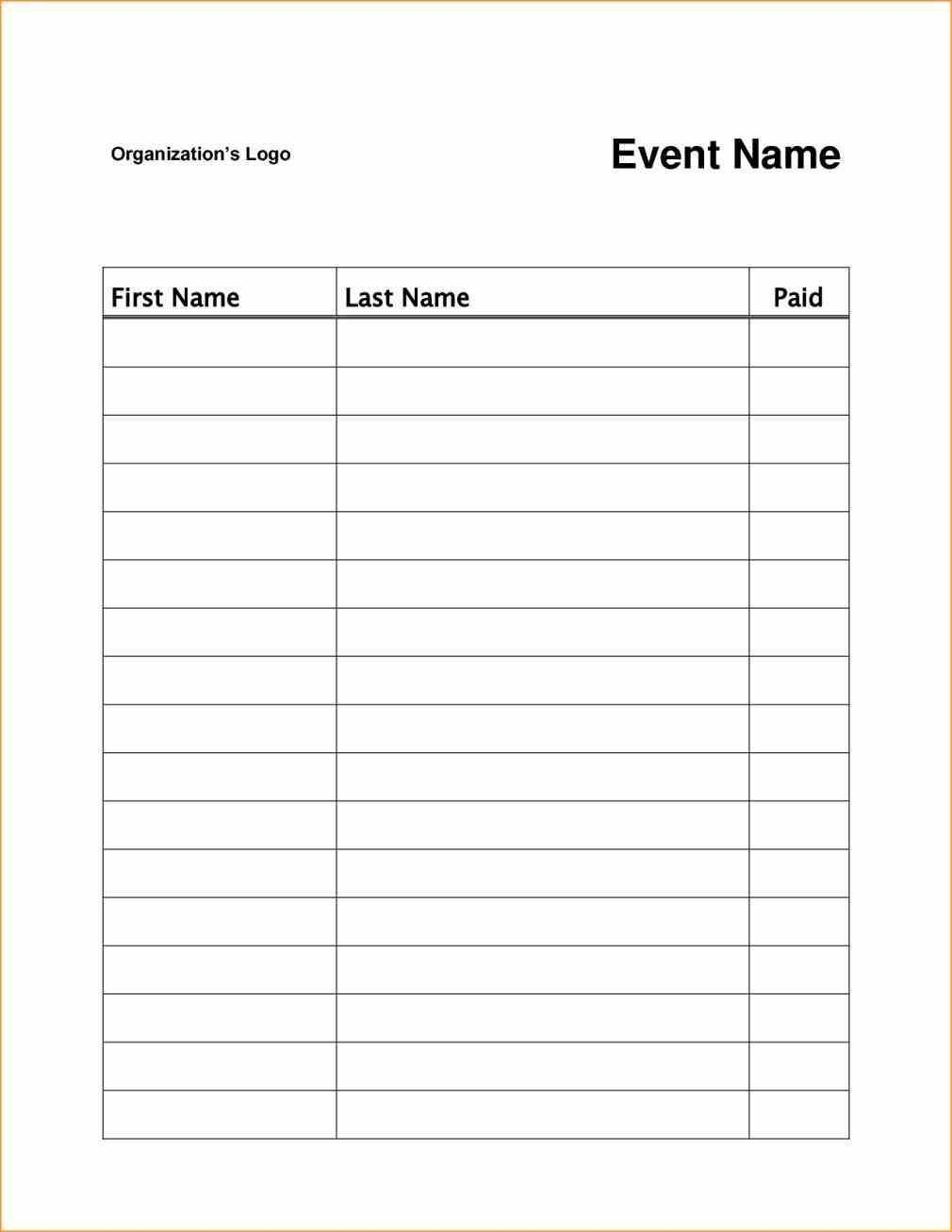 Event Sign In Sheet Template Addictionary