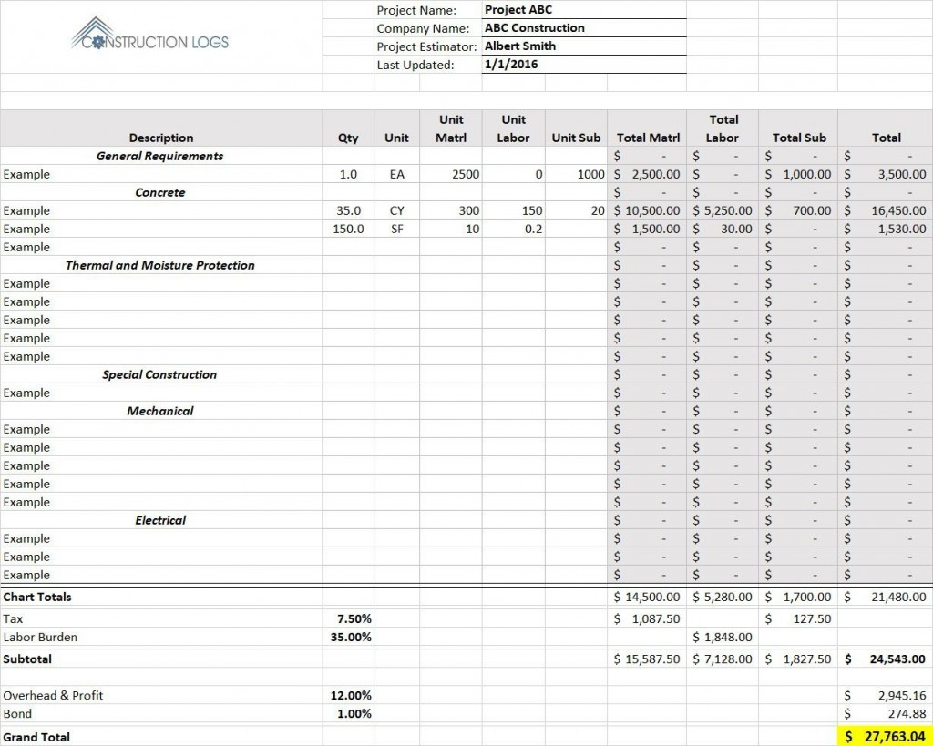 004 Shocking Free Construction Estimate Template For Mac Photo Large