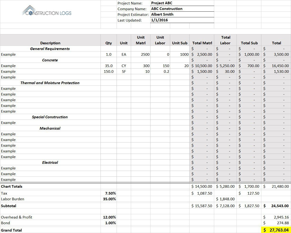 004 Shocking Free Construction Estimate Template For Mac Photo Full