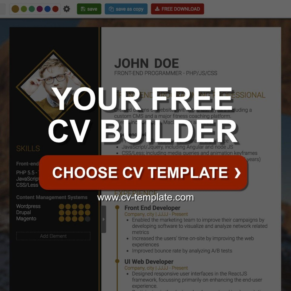 004 Shocking Professional Cv Template Free Online Photo  Resume960