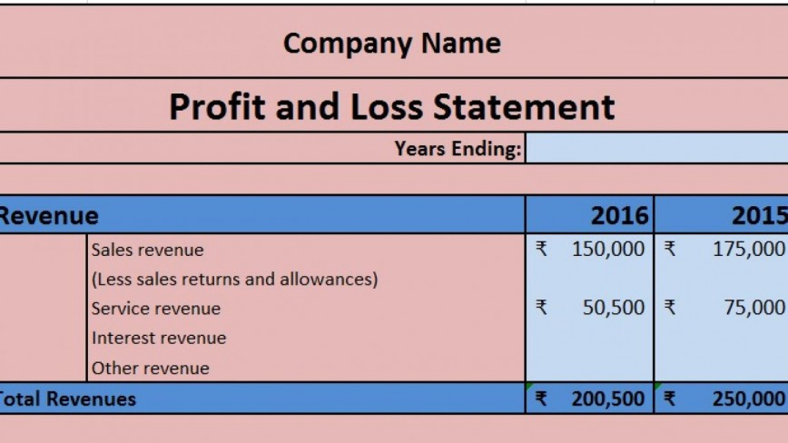 004 Shocking Profit Los Template Excel Highest Quality  Statement Sample Monthly