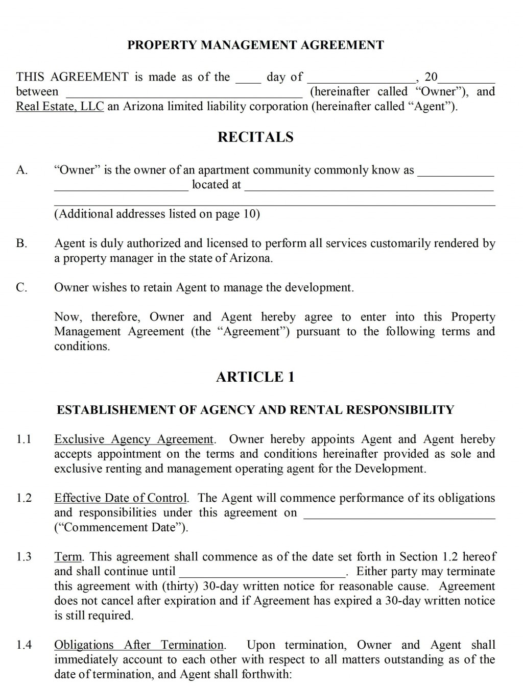 004 Shocking Property Management Contract Form Inspiration  Sample Agreement Template Free UkLarge