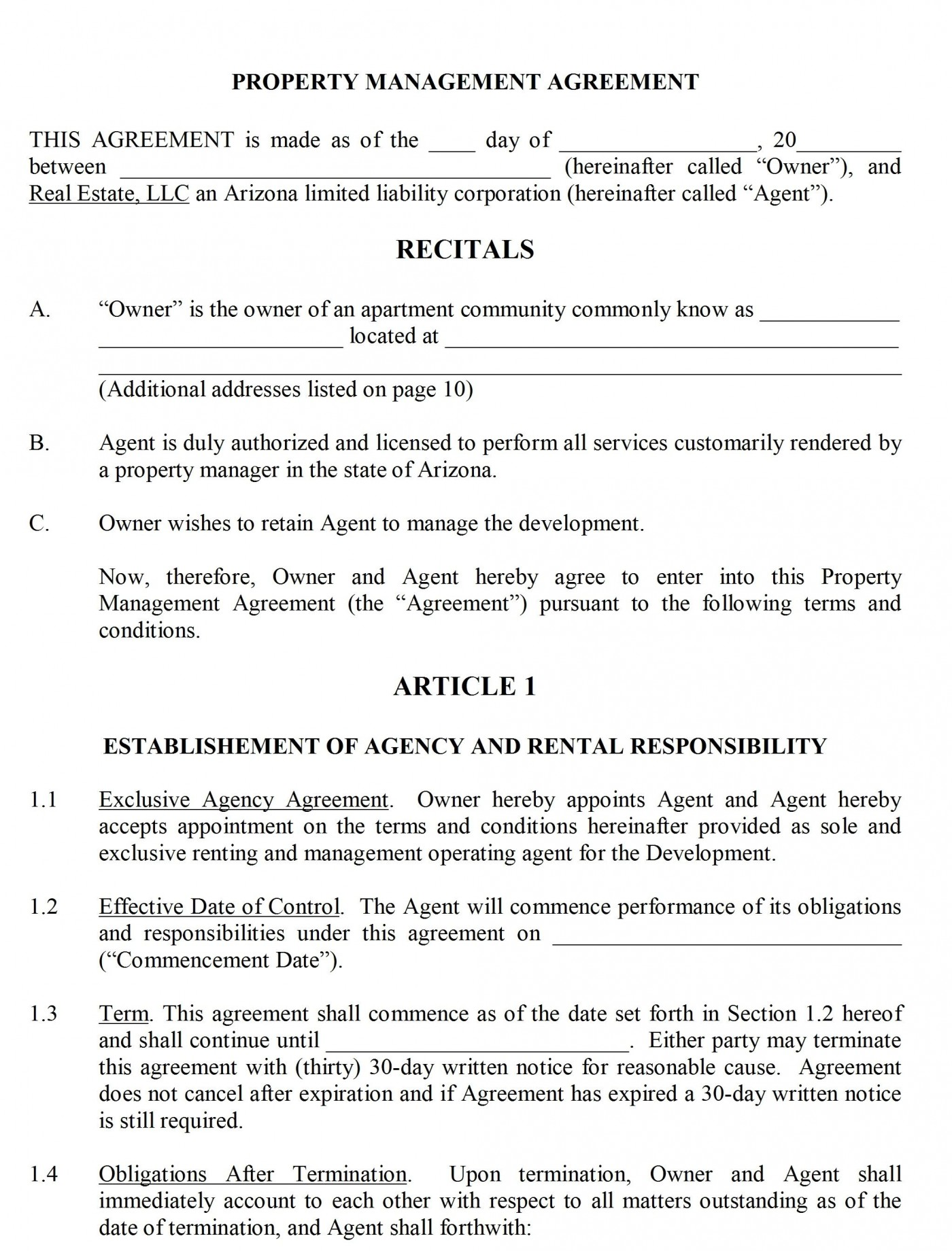 004 Shocking Property Management Contract Form Inspiration  Agreement Template Ontario1400