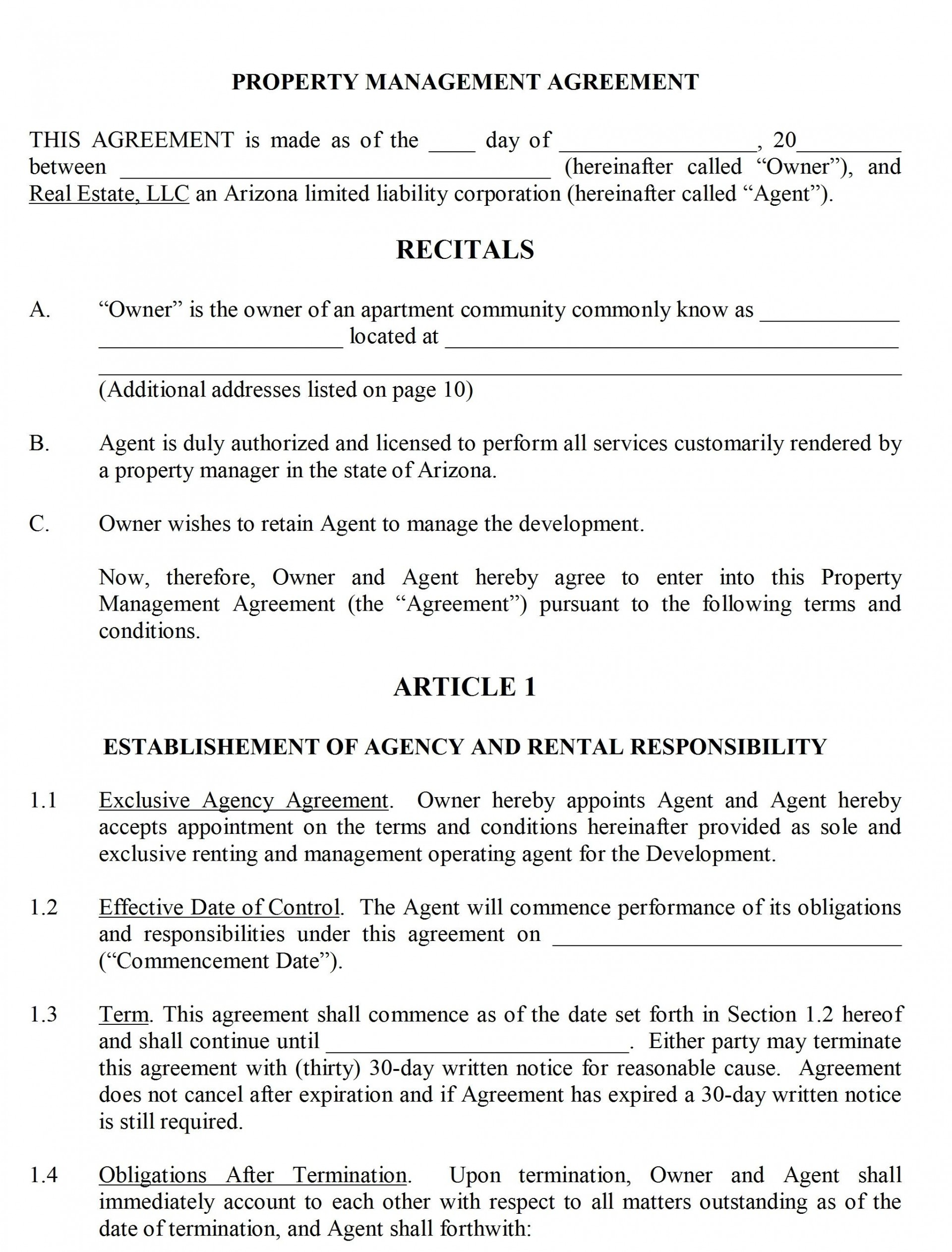 004 Shocking Property Management Contract Form Inspiration  Sample Agreement Template Free Uk1920