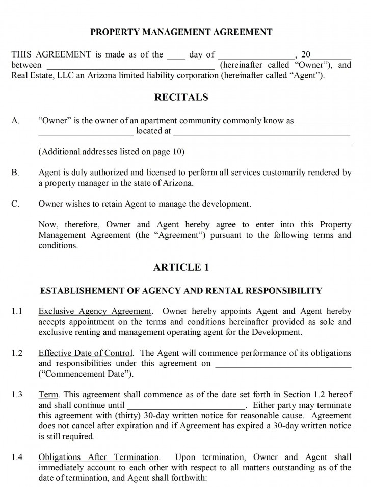 004 Shocking Property Management Contract Form Inspiration  Agreement Template Ontario728