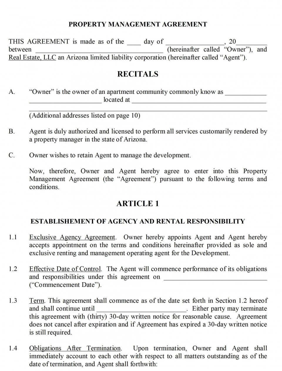 004 Shocking Property Management Contract Form Inspiration  Agreement Template Ontario960