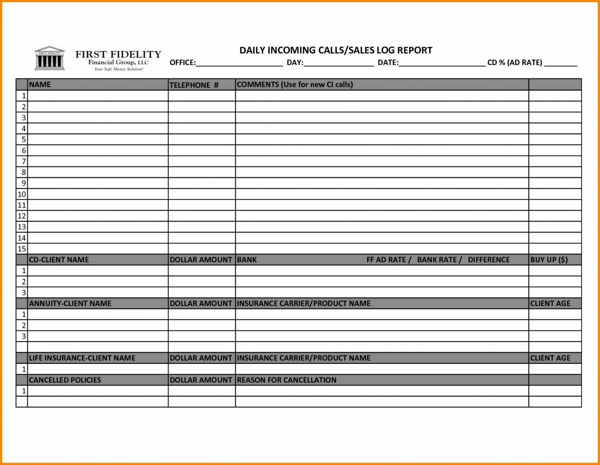 004 Shocking Sale Call Report Template Picture  Excel Free1920