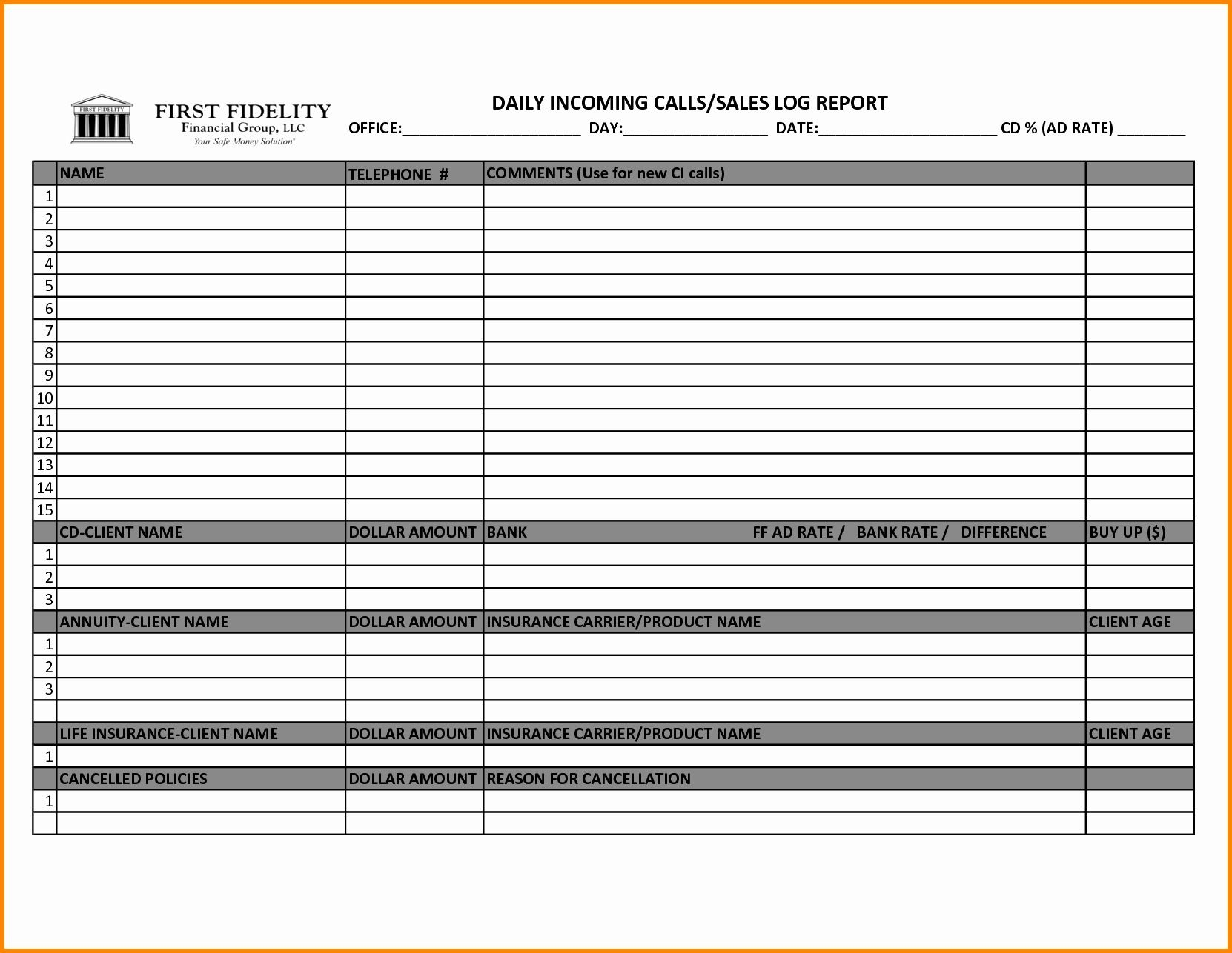004 Shocking Sale Call Report Template Picture  Excel FreeFull