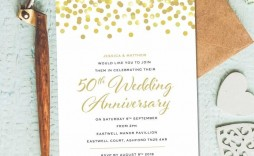 004 Simple 50th Anniversary Invitation Template High Resolution  Templates Wedding Free Download Golden