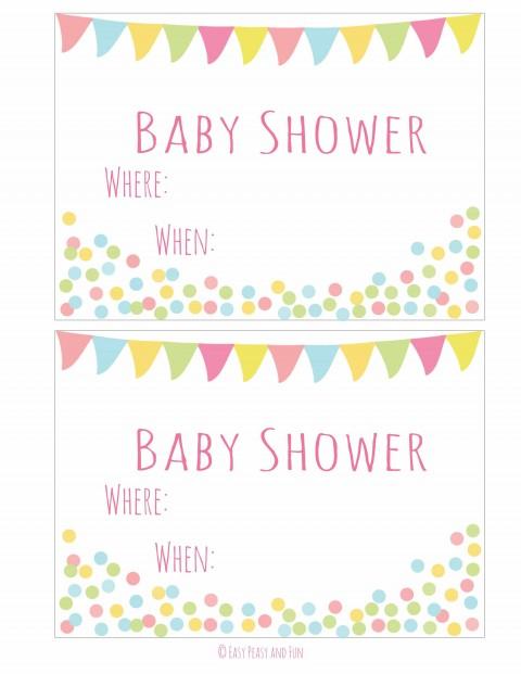 004 Simple Baby Shower Invitation Girl Printable Sample 480
