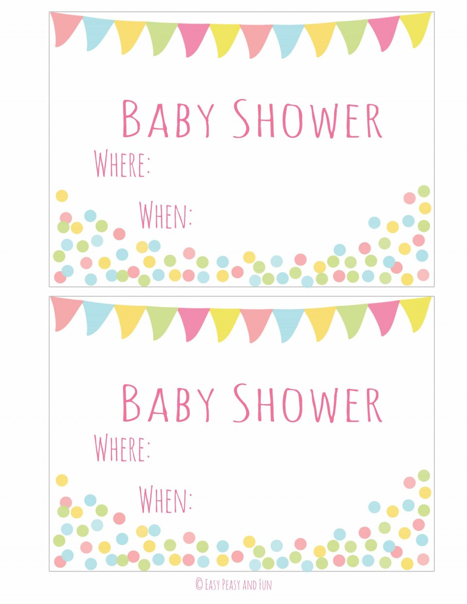 004 Simple Baby Shower Invitation Girl Printable Sample 960