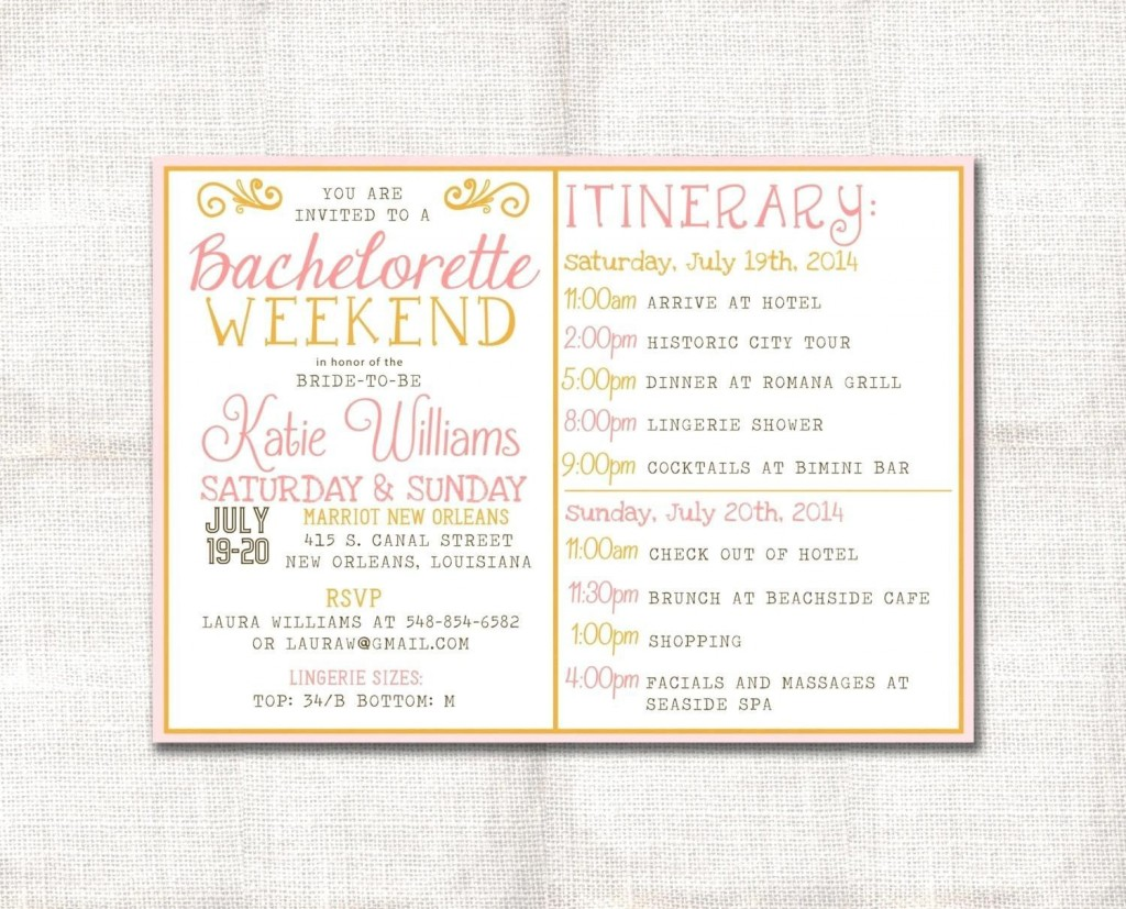 004 Simple Bachelorette Party Itinerary Template Free Idea  DownloadLarge