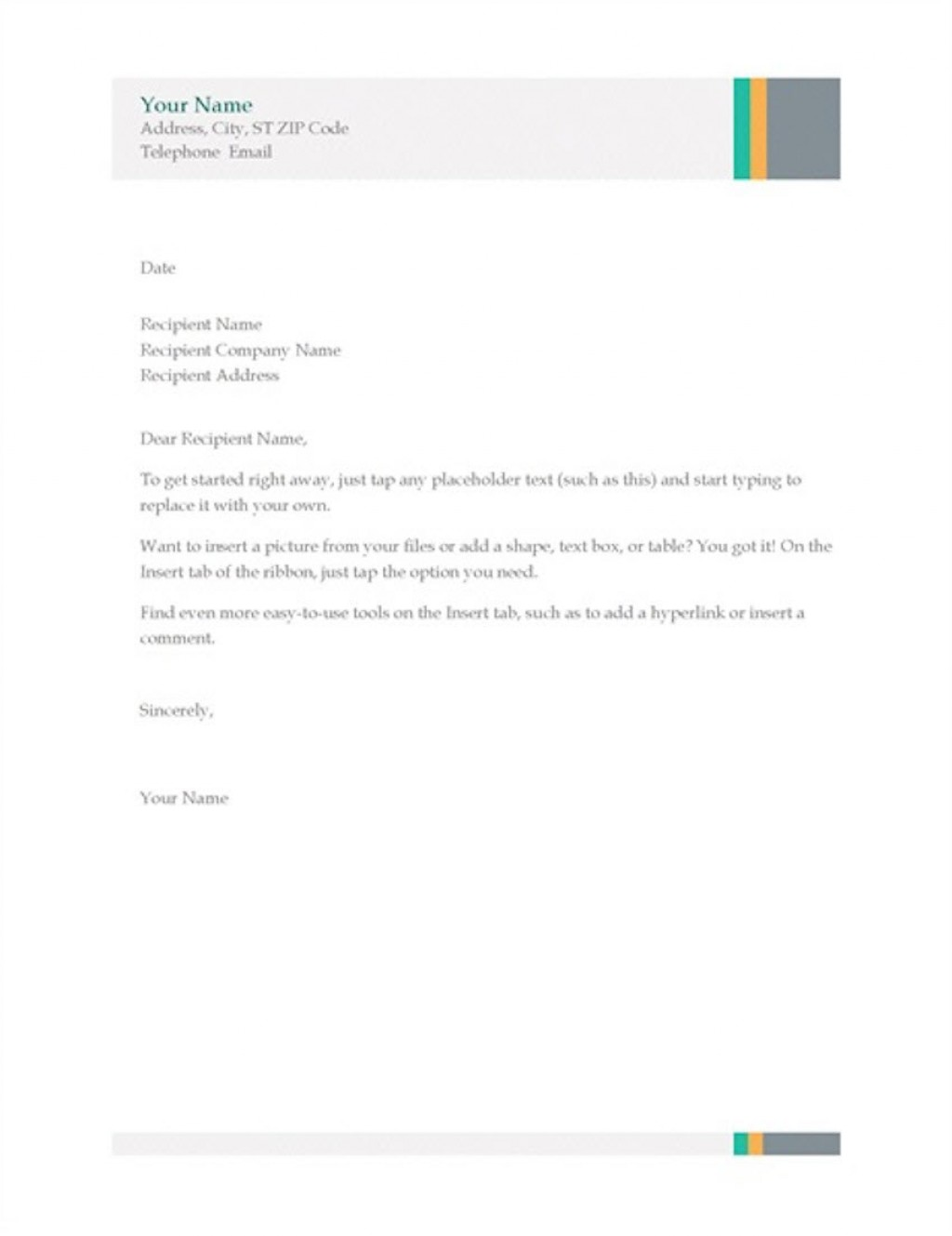 004 Simple Busines Letter Template Word Highest Quality  Cover FreeLarge