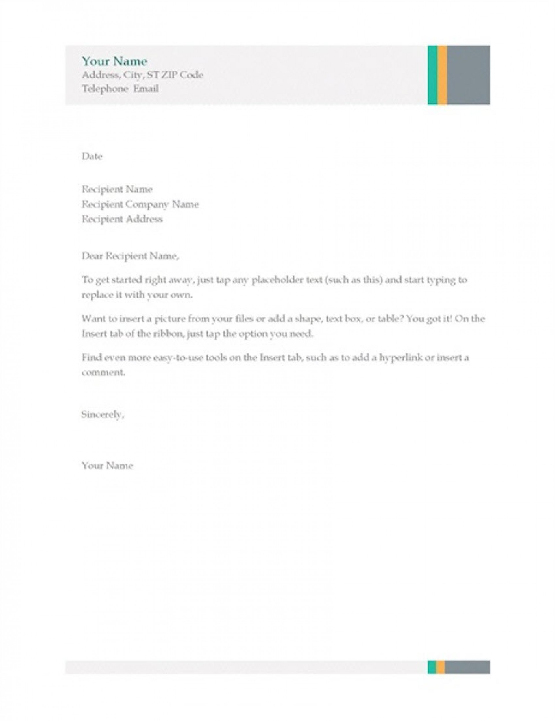 004 Simple Busines Letter Template Word Highest Quality  Cover Free1920