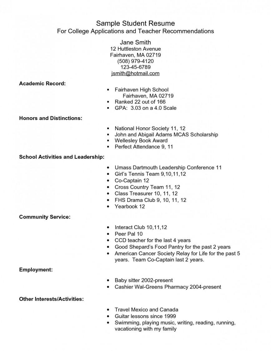 Year 12 Student Resume