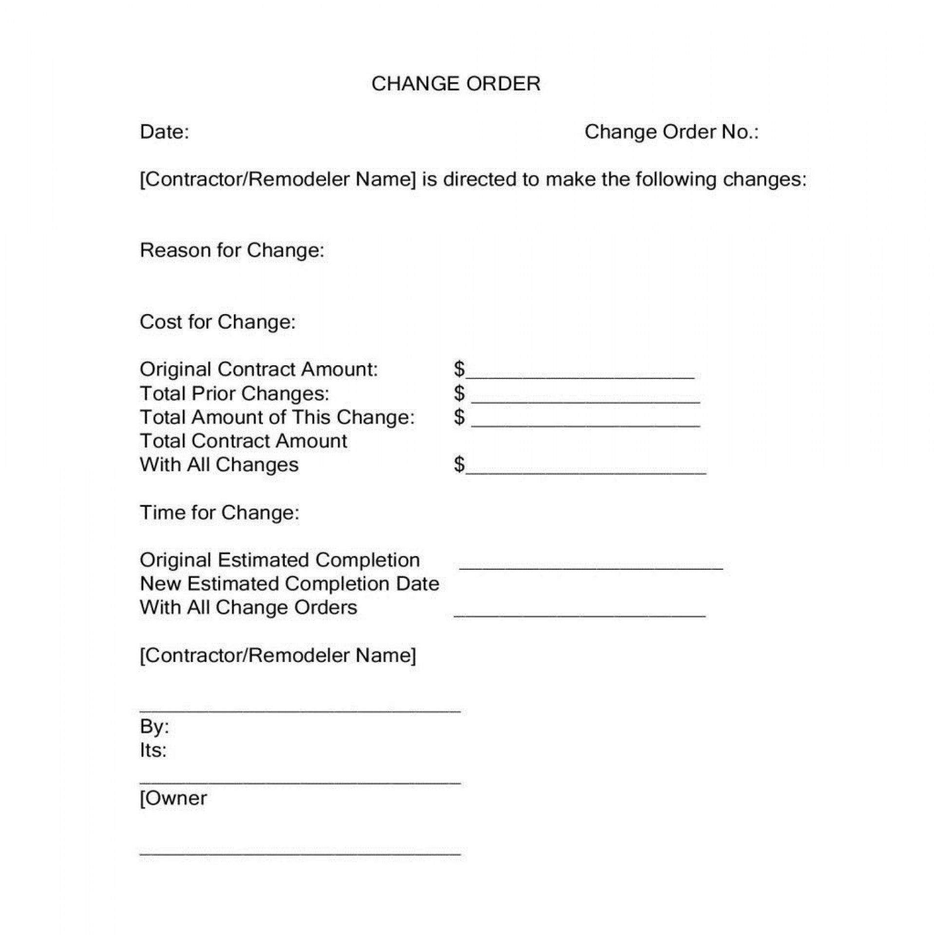 004 Simple Construction Change Order Template Word Picture  Doc1920