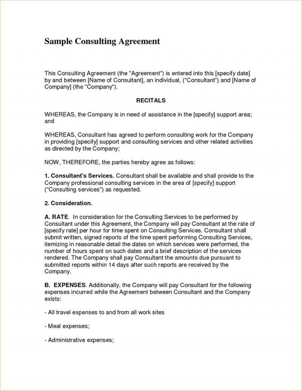 004 Simple Consulting Agreement Template Word High Resolution  Sample FreeLarge