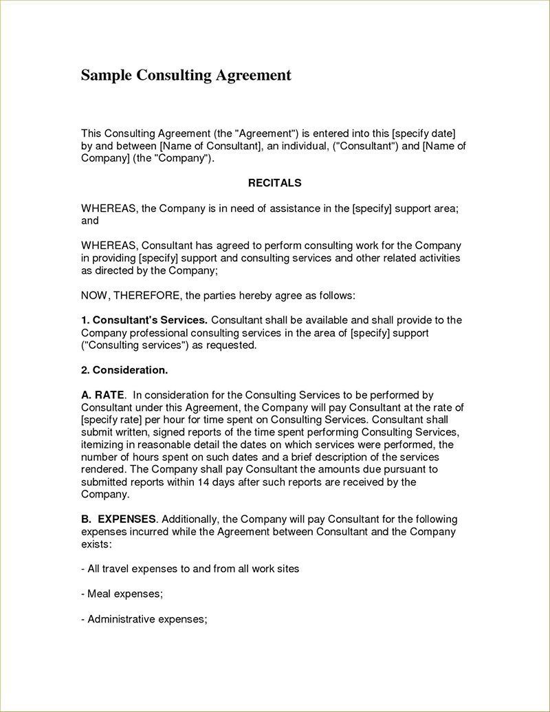 004 Simple Consulting Agreement Template Word High Resolution  Sample FreeFull