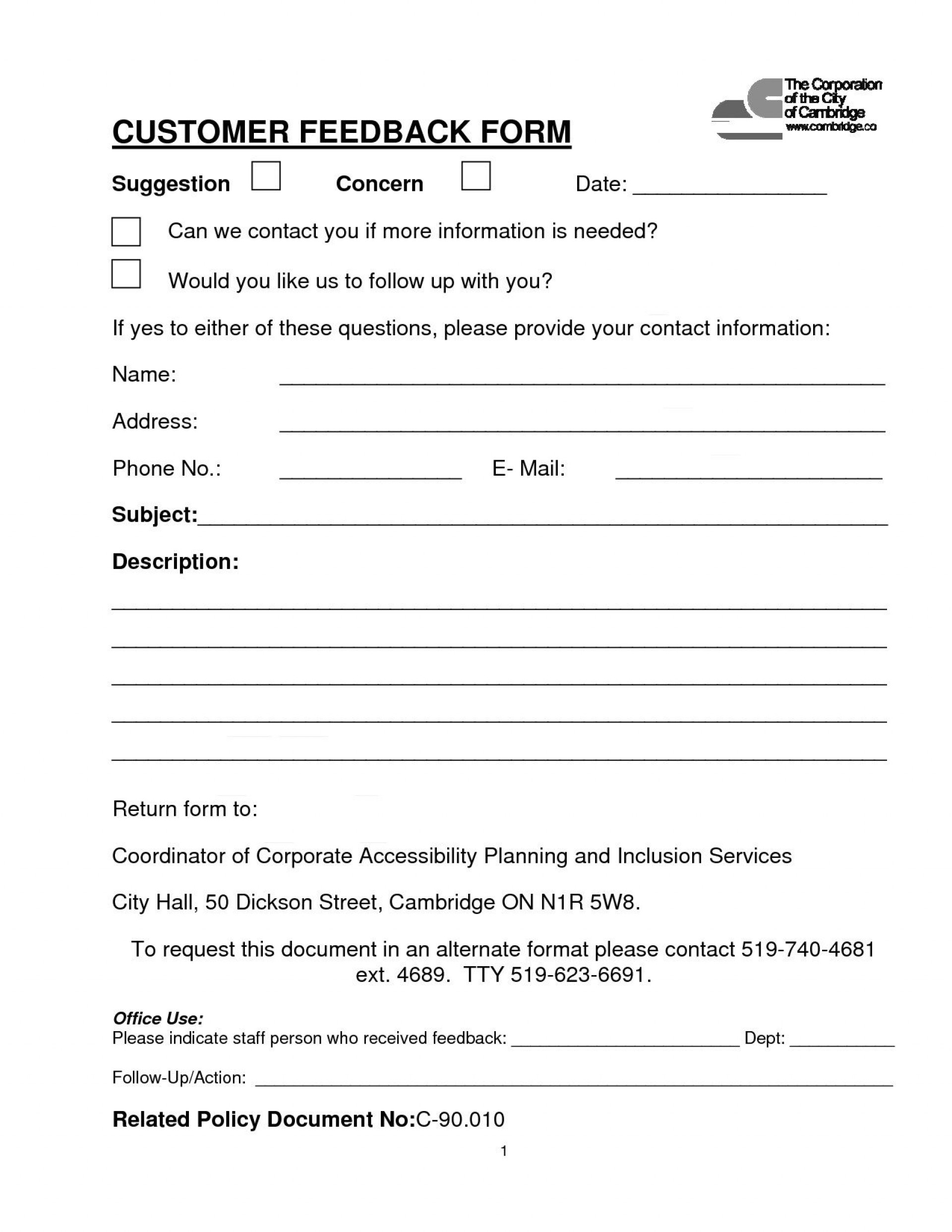 004 Simple Customer Satisfaction Survey Template Word Inspiration  Doc Form1920